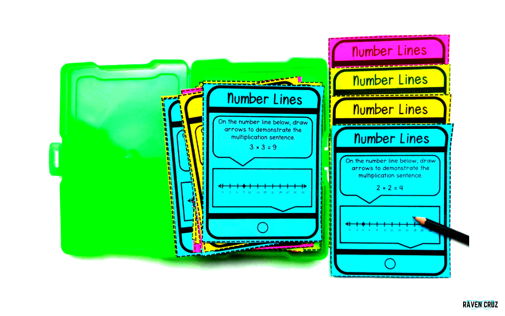 Digital and printable number lines task cards