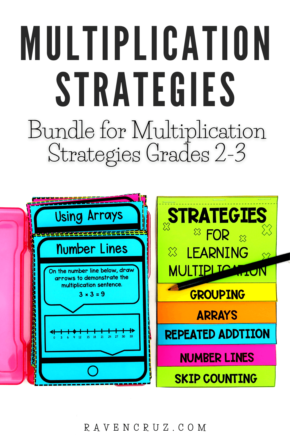 multiplication strategies task cards and flip book for 3rd-grade