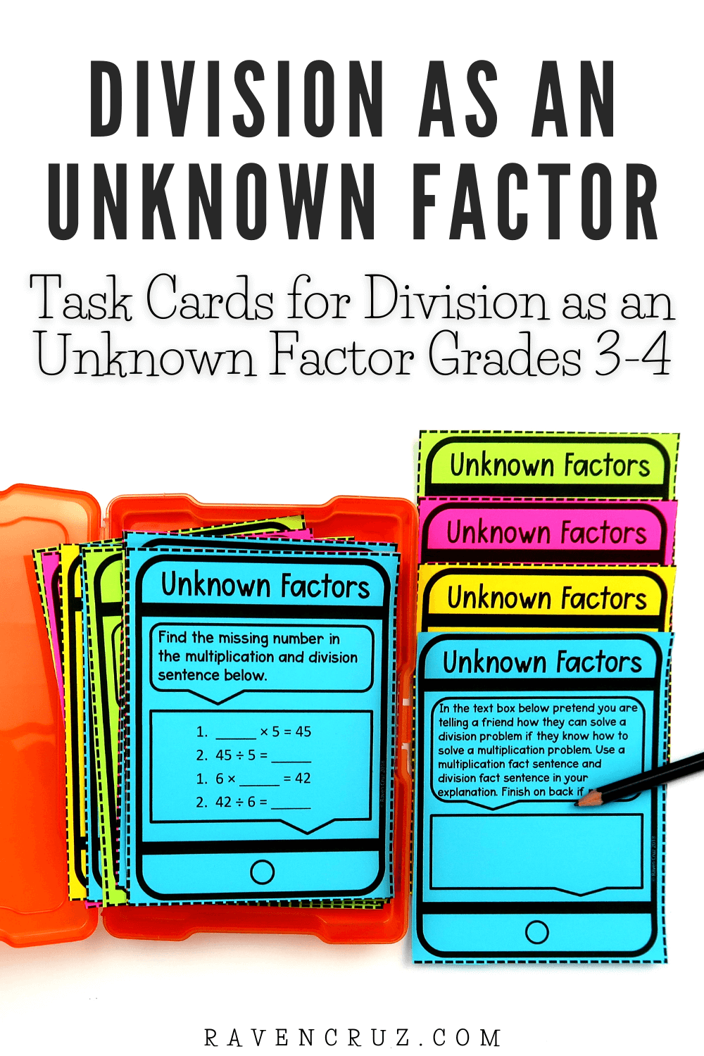 Division task cards for 3rd-grade math.